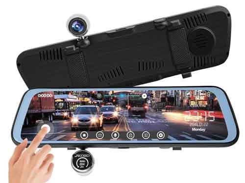CHICOM 9.66-inch Mirror Dash Cam