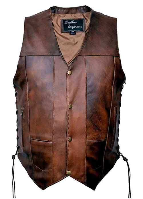 Leather Supreme Men's Ten Pocket CC Retro Brown Buffalo Hide Leather Vest