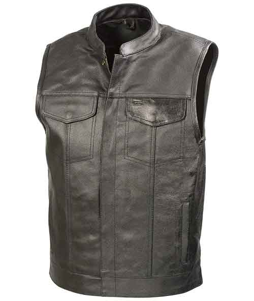 The Bikers Zone SOA Mens Leather Club Style Vest